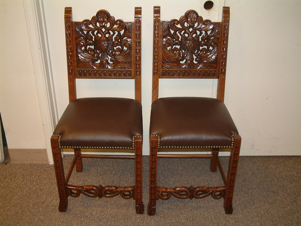 Carved Eagle Oak Side Chairs