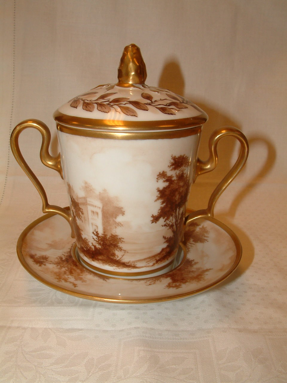 Old Paris Covered Chocolate Trembleuse Cup & Saucer