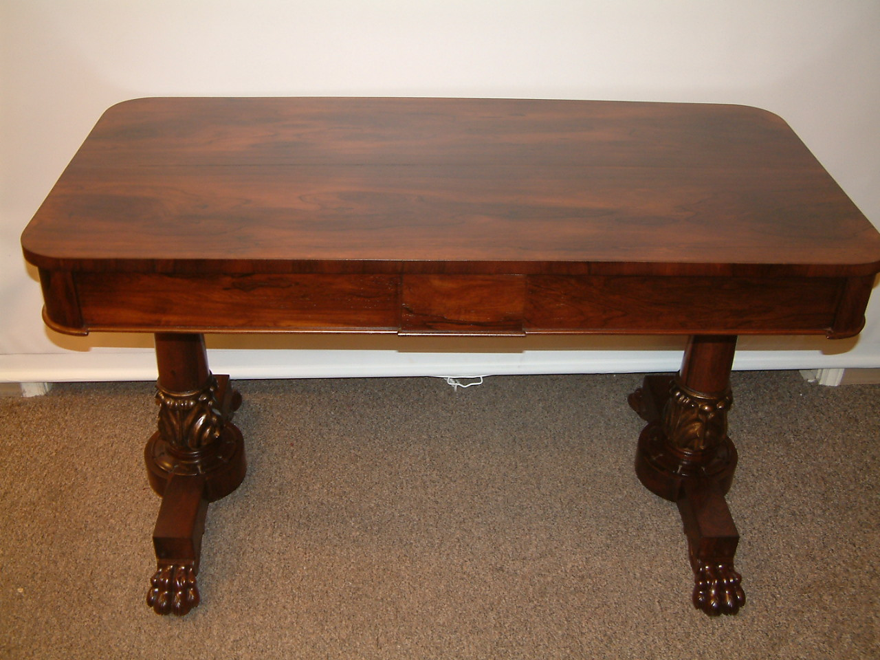 Rosewood Early Clawfoot Library Table  SOLD