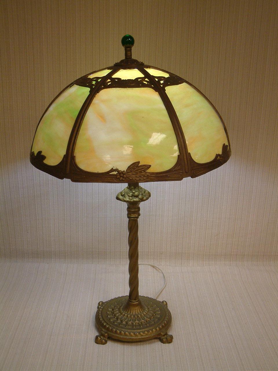 Green Slag Glass Paneled  Lamp