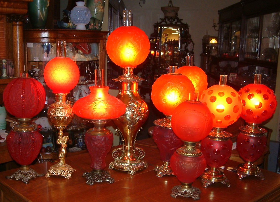 Red Satin Glass Victorian Lamps