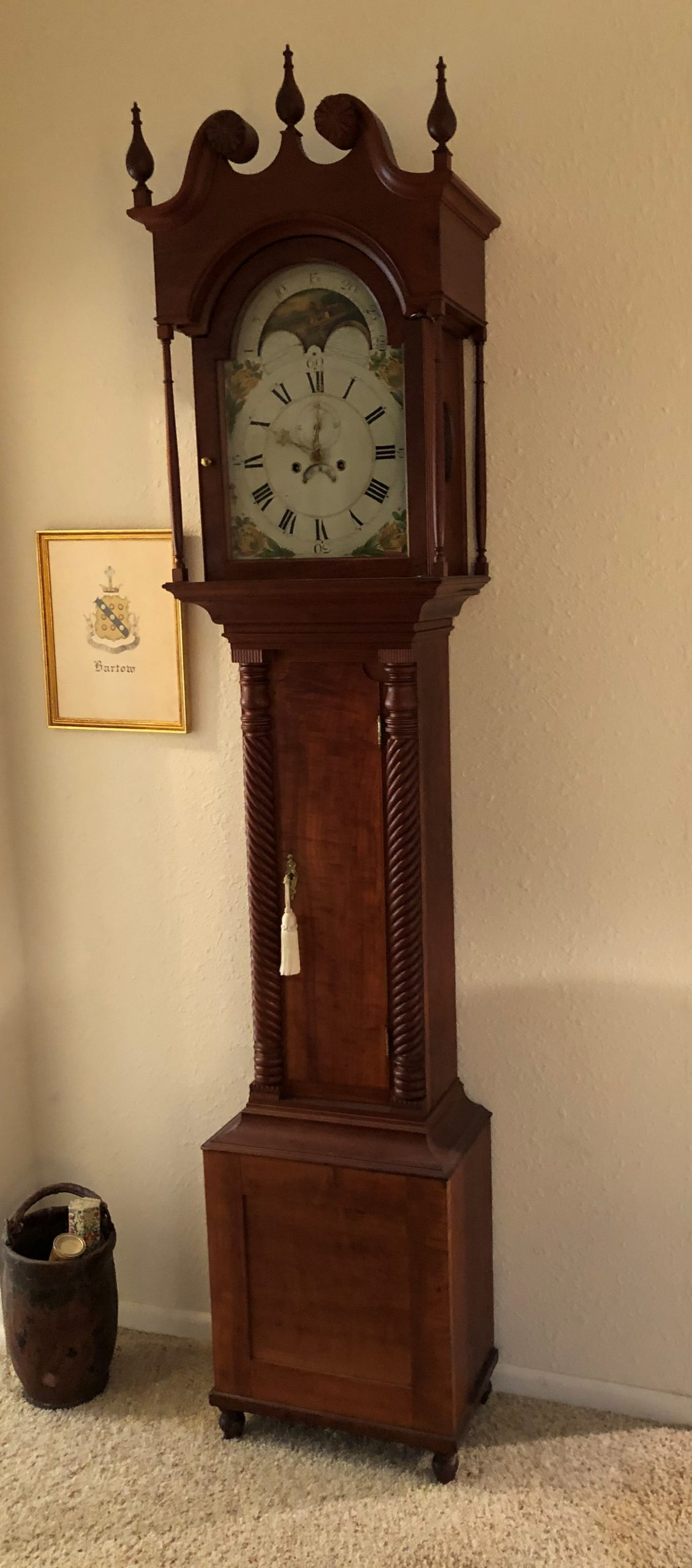 Early American Colonial Tall Case Grandfather Clock