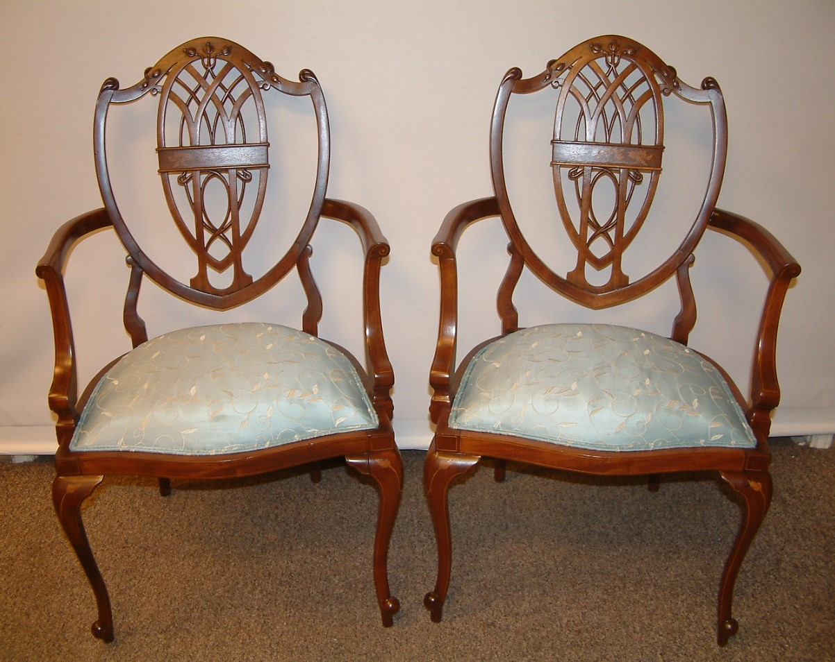 Hepplewhite  Pair Arm  Chairs  SOLD