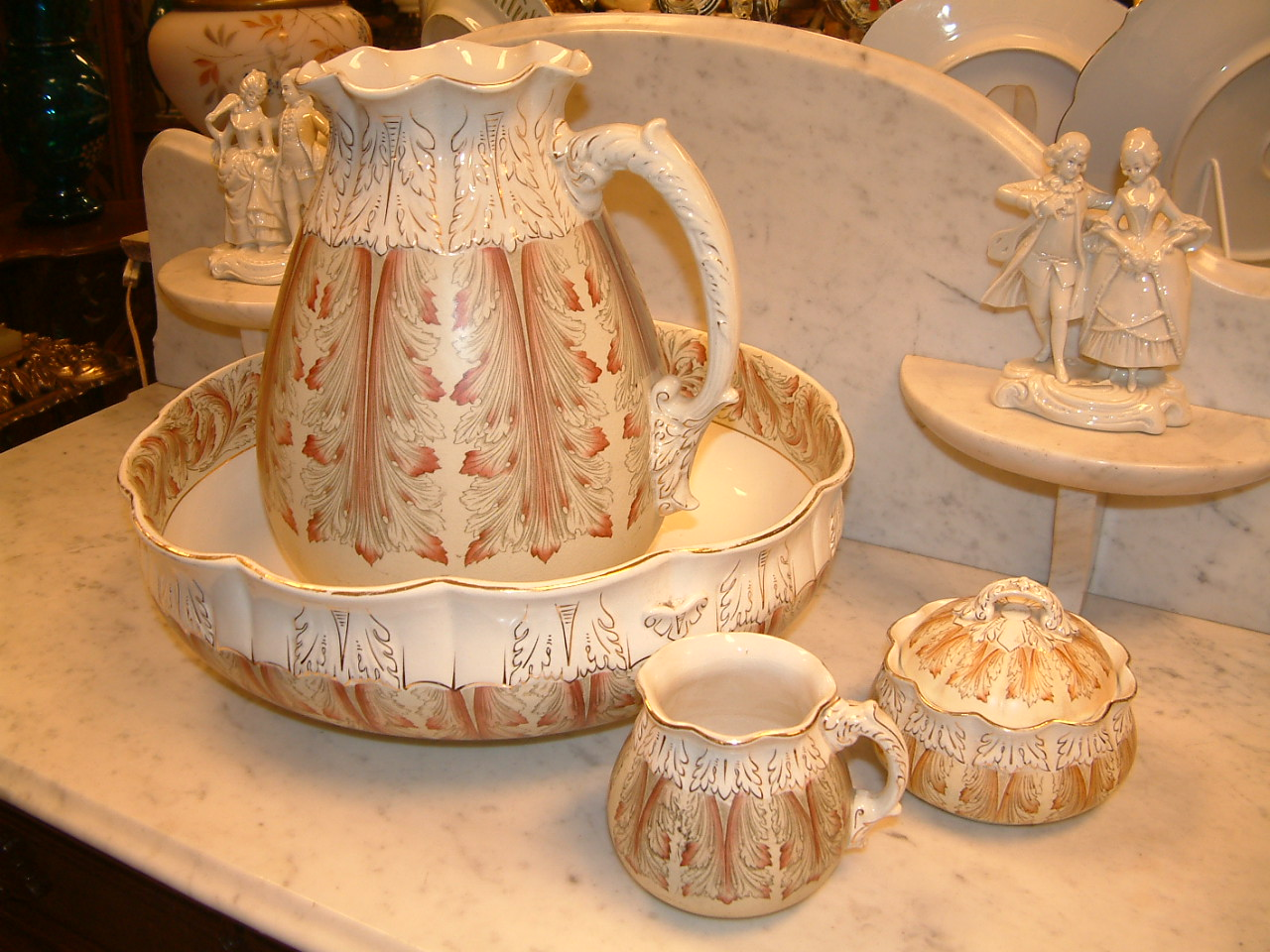 Beautifully Decorated Pitcher & Bowl Set