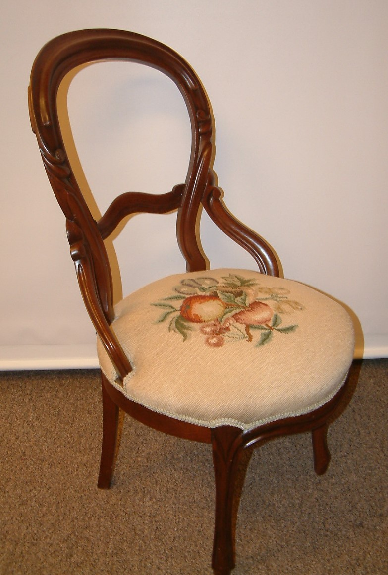 Walnut Balloon Back Victorian Chair
