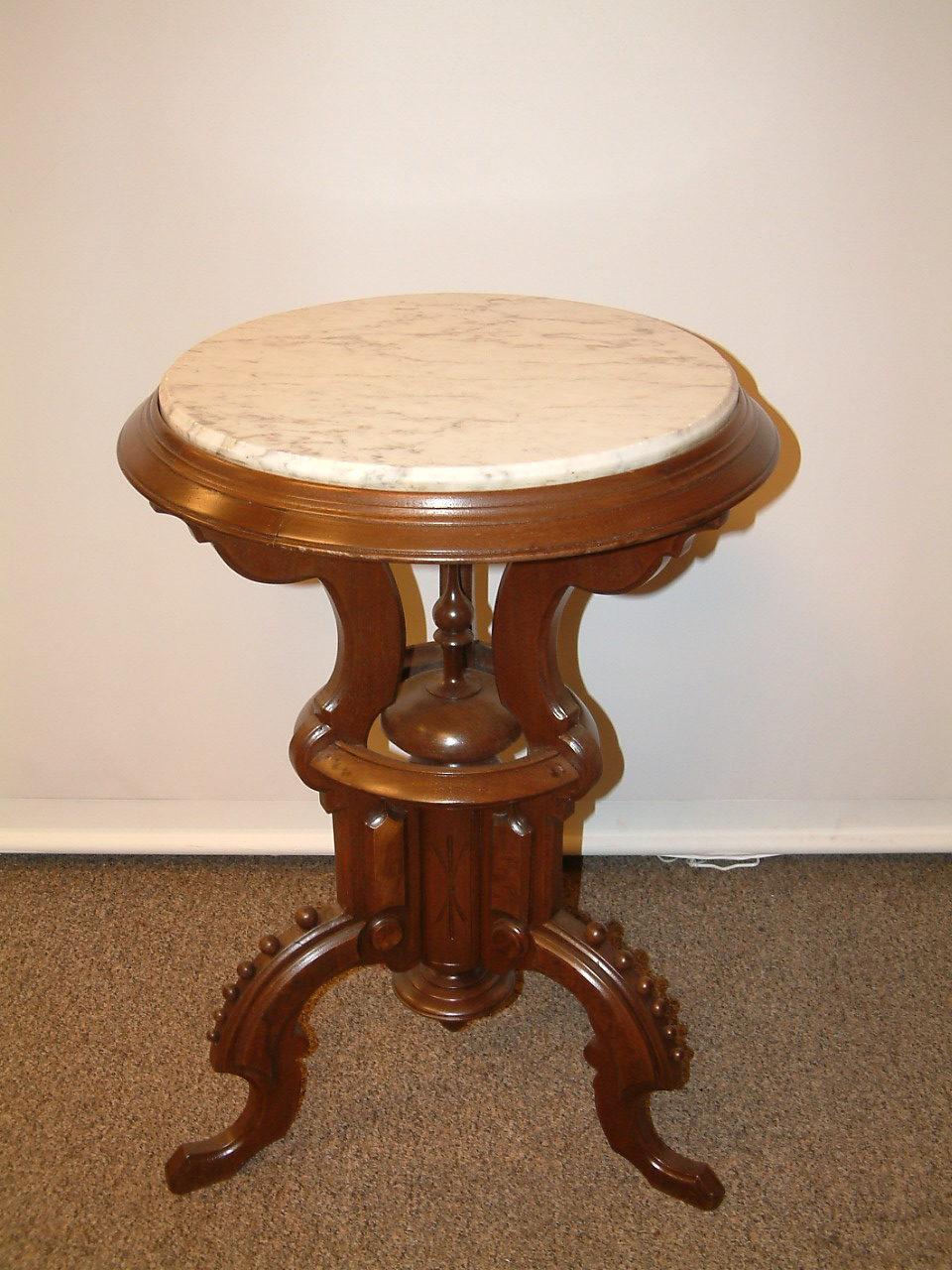 Walnut & Marble Parlor Table  Rare Model