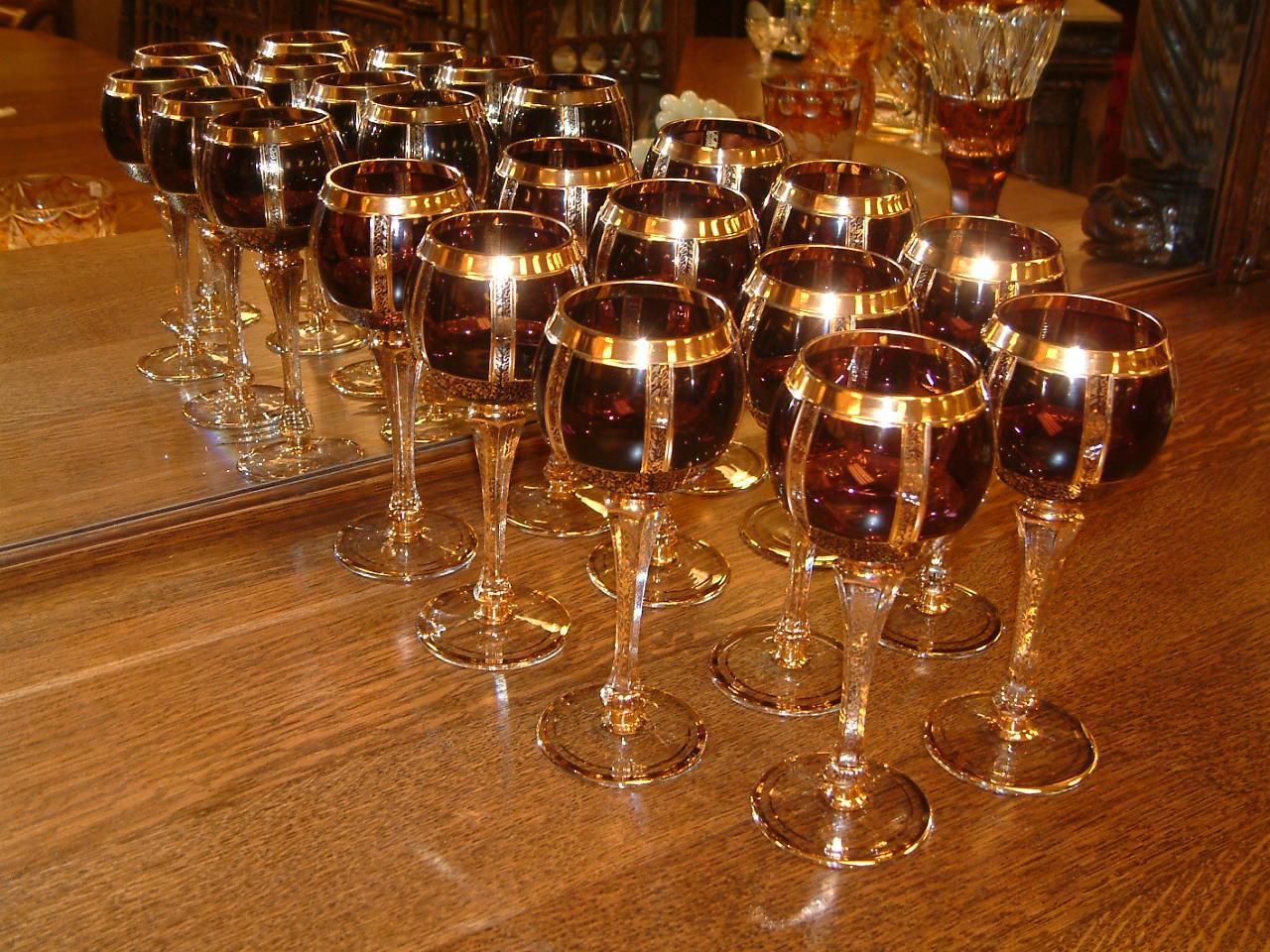 Moser Cabochon Amethyst Wine Hocks