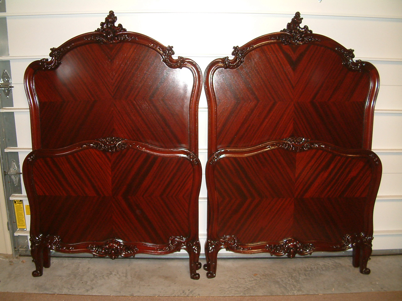 Mahogany R J Horner Fancy Twin Beds – Matched Pair
