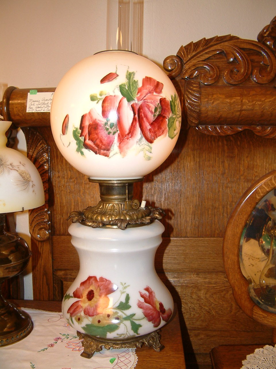 Gone With the Wind Banquet Lamp,  Hand Painted Poppies