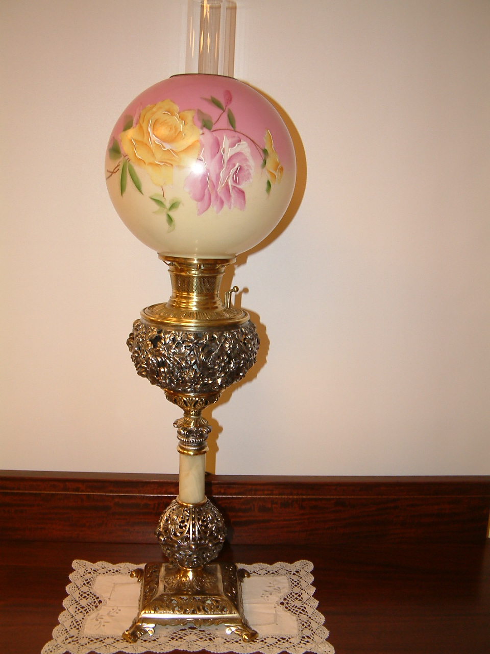 Gone With the Wind Banquet Lamp,  Hand Painted Shade